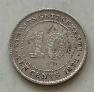 Straits Settlements 1893 10 Cents Coin With Good Details