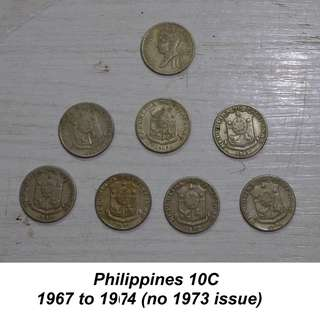 Republic of the Philippines 10c set 1967-1974
