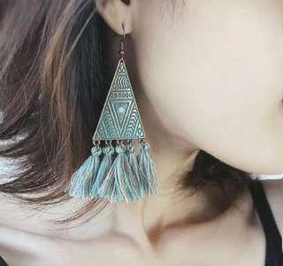 🧡 Triangle Bohemian Tassel Earrings with Patterns #July100