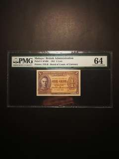 Malaya King George 1 Cents 1941 (PMG64)