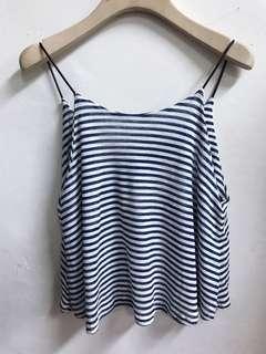 🚚 《出清價》全新品條紋皮繩肩帶短版背心(藍)