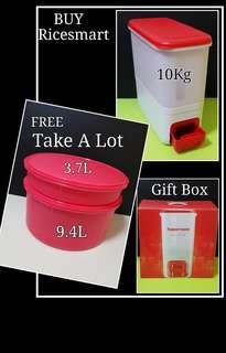 Authentic Tupperware  SLIM & NEW  RiceSmart 10.0kg (1) -  39.2cm(L) × 18.8cm(W) × 37.8cm(H)  Retail Price S$148.00  FREE Take A Lot set