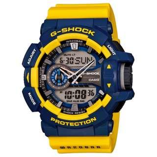 CASIO G-SHOCK GA-400 series GA-400-9B 黃藍 GSHOCK GA400