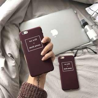 🚚 酒紅ins字母磨砂手機殼-Iphone7/Iphone8