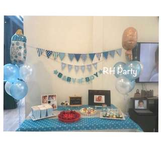 (9/7) Baby boy / girl bunting / banner / baby shower / full month balloon bouquet