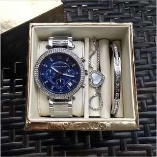 Michael Kors MK手鐲手鏈手錶三件套套裝 mk5538玳瑁色 mk6117海洋藍