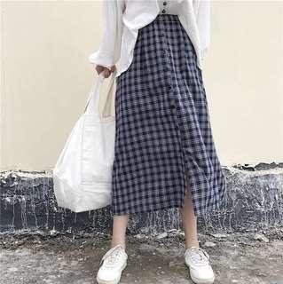 Checker Long Skirt