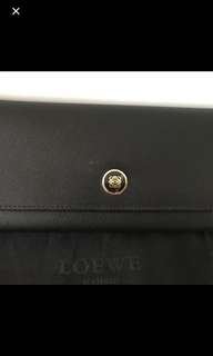 Loewe long wallet black leather