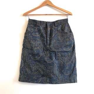 GAP 古著 墨綠色系 宮廷風變形蟲 復古鉛筆裙 日本帶回