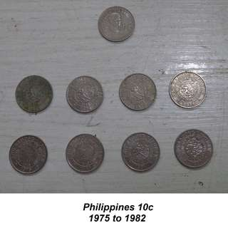 Republic of the Philippines 10c set 1975 to 1982