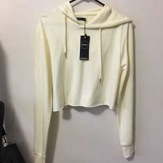 Boohoo light yellow crop hoodie