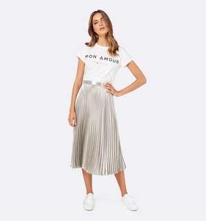 Brand New Forever New Pleated Metallic Midi Pleated Skirt