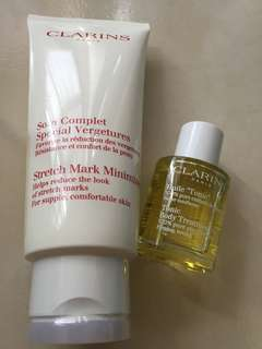 Clarins reduce stretch mark lotion (200ml). Free tonic oil  (30ml)