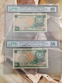 Fixed Price - Singapore Orchid Series $5 Paper Banknote Lim Kim San Signature Yellow Paper PMG 40 & 58