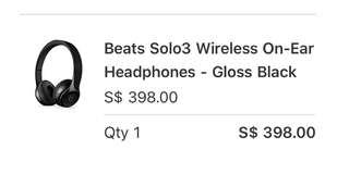 Beats Solo 3 wireless on ear headphones Gloss Black