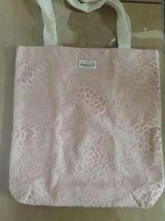 百貨專櫃 全新 粉色蕾絲包 帆布包