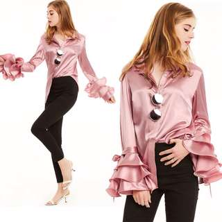 Premium Flare Sleeved Satin Blouse