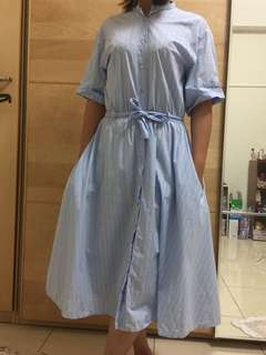🚚 ZARA藍白相間條紋洋裝