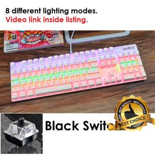 🚚 (New) Cotton Candy Mechanical Gaming Keyboard (Black Switch)