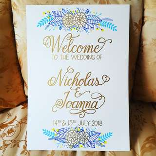 Custom Wedding Sign in Calligraphy Style with Floral Design