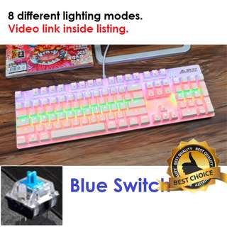 🚚 (New) Cotton Candy Mechanical Gaming Keyboard (Blue Switch)