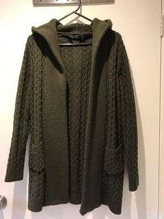 Olive green wool hoodie cardigan
