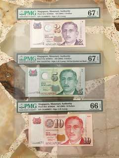 Fixed Price - Singapore Portrait Series 1AA First Prefix Lee Hsien Loong Signature $2 $5 $10 Set PMG 66 67