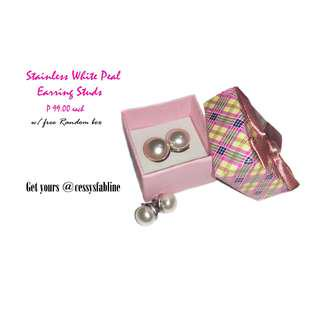 Stainless White Pearl Stud Earrings w/ free Random Box