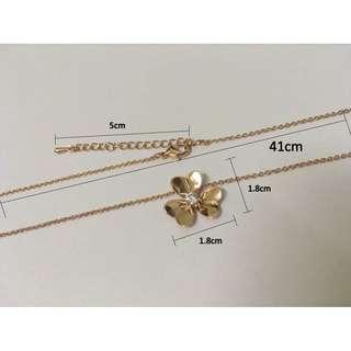 三叶草水晶玫瑰金项链 Rose Gold Necklaces for Women Stainless Steel Pendant Necklace Clover Jewelry Adjustable Women Necklace Set Shamrock