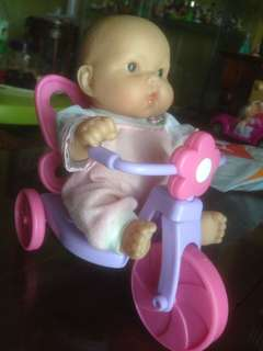 baby berenguer doll with bicycle