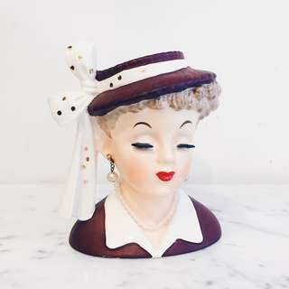 Vintage Brown Hat Lady Head Vase