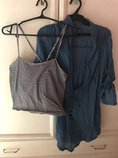 2 piece: Black and white striped sleeveless + Blue 3/4 Sleeved top
