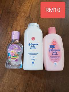 Baby Powder, lotion, oil