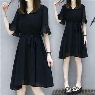 XL~5XL大碼顯瘦時尚喇叭袖雪紡連衣裙