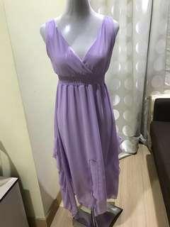 Soft Purple Chiffon V Shape Maxi Dress