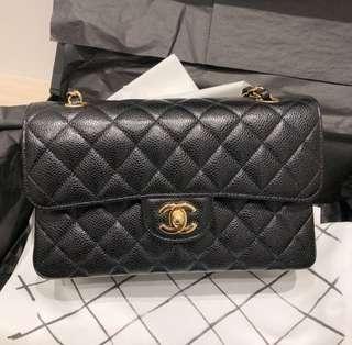 Chanel Cf 23cm A01113 黑色荔枝牛皮金鍊