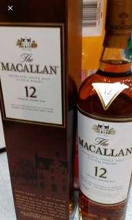 舊版Macallan 12年雪梨桶威士忌700ml, 香港行貨。每一支
