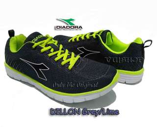 Sepatu DIADORA DILLON, Grey Lime. Men Running. DIAX7F1101GL.100%Original