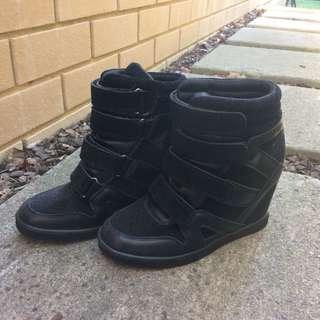 Black Wedged High Top Sneakers