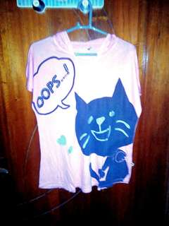 Hood cat shirt.(kids)