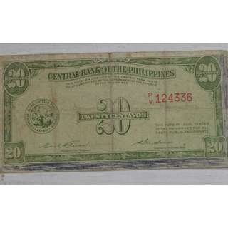 Philippines 20c Early Central Bank Issue signed by Pres. Carlos P. Garcia