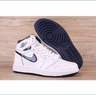 Jordan 1 white/metallic blue