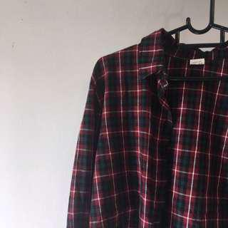 Red Green White Checkered Plaid Gingham Crop Top Collared Oversized Vintage Flannel Top Shirt [SOLD]