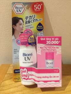 Biore UV Perfect Face Milk SPF 50+ PA+++ with free Biore Cleansing Water