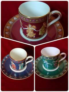 3 Sets Wedgwood Porcelain Coffee Cups and Saucers