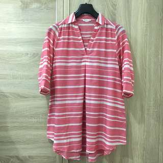 🚚 NET 條紋紅白襯衫領微傘狀上衣