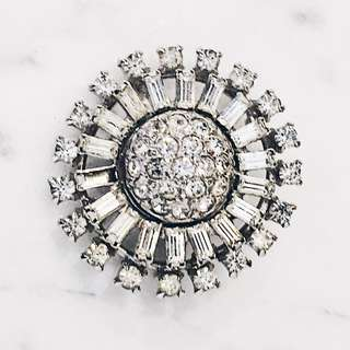 Vintage Clear Crystal Sunburst Brooch
