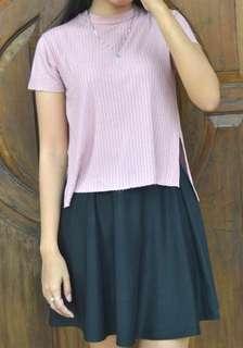 Bershka baby pink dan black skirt