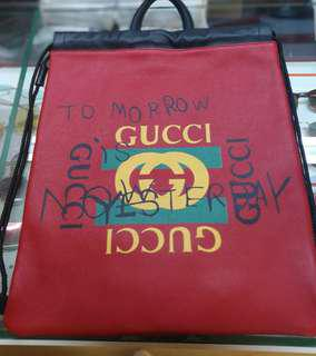 Gucci Coco Capitan Drawstring Backpack Red Leather