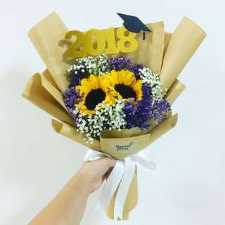 Sunflower Bouquet with Purple Baby Breath and White baby breath in kraft Wrapping